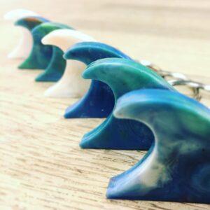 Havplast bølger blå nuancer