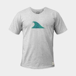 Grå t-shirt med tryk af bølge på bryst