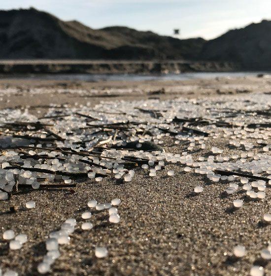 Pellets på strand med sømærke i baggrund
